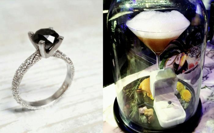 ההצעה, מלון ריץ' קרלטון, הונג-קונג, טבעת פלטינה עם יהלום שחור